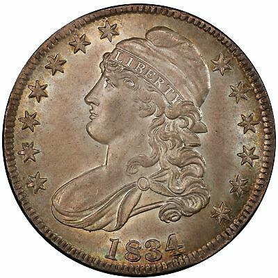 1834 50C Large Date, Small Letters Capped Bust Half Dollar PCGS MS64+ (CAC)