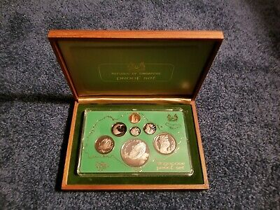 Singapore 1979 Proof Set in Wood Box with COA - Includes Silver 10 Dollars