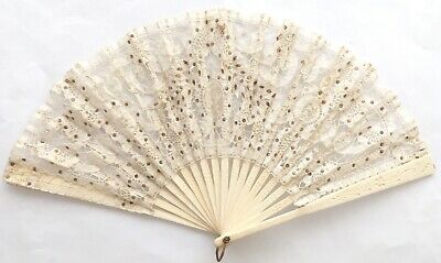 Antique19th Century Folding Hand Fan Mixed Lace & Sequin Embellished