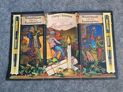 Vintage Waterman's Ideal Fountain Pen Tri-Fold Merry Christmas Advertising