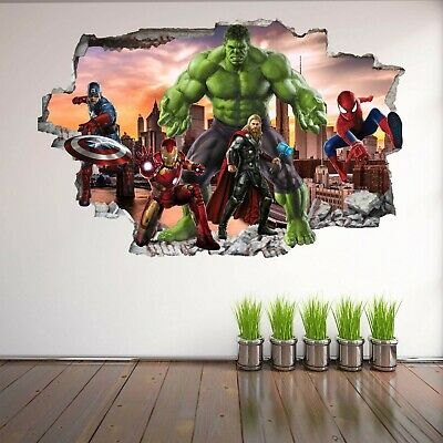 Avengers Super Heroes Wall Art Stickers Mural Decal Hulk Spiderman Iron Man EA93