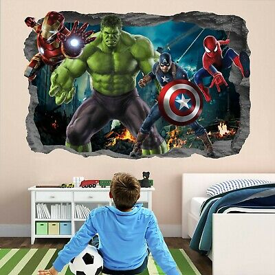 Avengers Super Hero Wall Art Stickers Mural Decal Hulk Spiderman Iron Man EA96