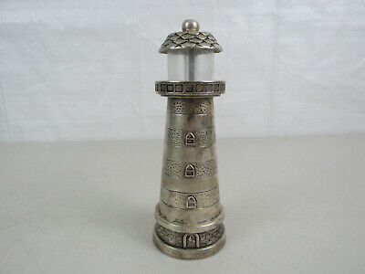 "Vintage Godinger Silver Plated Lighthouse Pepper Mill 7"" Tall"