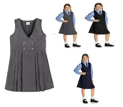 Girls Back to School 4 Button Wrap Over Style Pleated Pinafore Dress Age 2-16