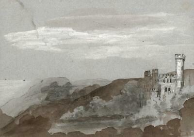 STEEPHILL CASTLE ISLE OF WIGHT Antique Watercolour Painting 1834 - 19TH CENTURY