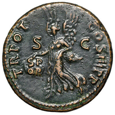 """Trajan AE As """"Victory With Shield Inscribed SPQR"""" Rome 99-100 AD Good VF"""