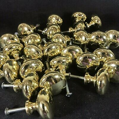 "Set 27 Brass Small Cabinet Knobs Drawer Pull Handle 1.25"" Diameter"