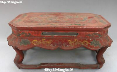 """10"""" Old Chinese Wood lacquerware Dynasty Palace Dragon Loong Desk Table Statue"""