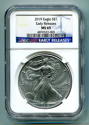 2019 American Silver Eagle Ngc Ms69 Classic Early Releases Blue Label, As Shown