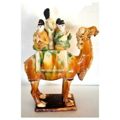Old Chinese Dynasty Tang Style pottery porcelain Sancai camel Empress Statue