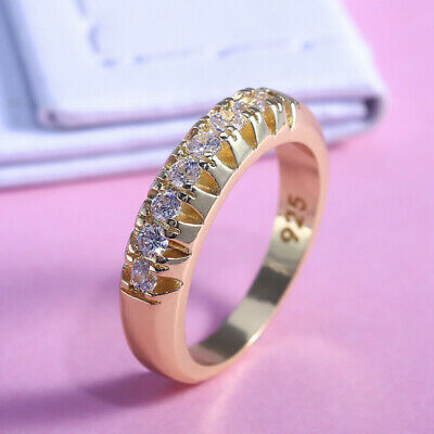 Elegant 18k Yellow Gold Plated Rings for Women Jewelry White Sapphire Size 6-10