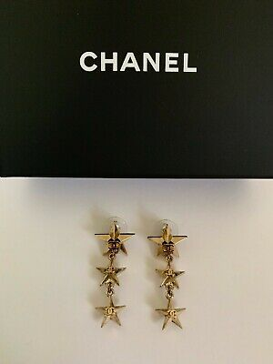NIB Chanel Coco Cuba CC Logo 3D Triple Star Charm Gold Tone Drop Dangle Earrings