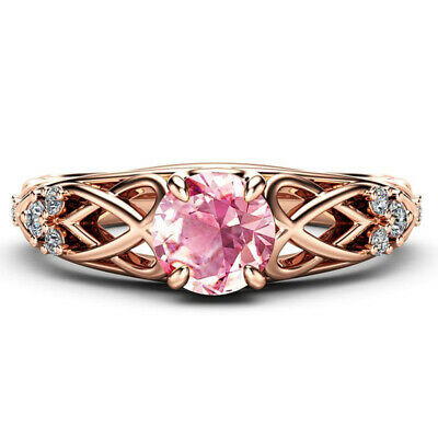 Pretty Women Wedding Ring Rose Gold Filled Round Cut Pink Sapphire Size 6-10