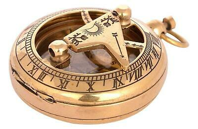 """Nautical 2"""" Solid Brass Hand-Made Push Button Sundial Compass - Vintage Compass"""