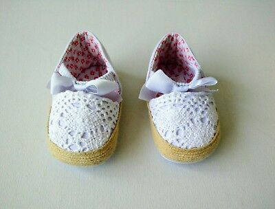 John Lewis Baby Girl Holiday White Crochet Espadrille Sandals shoes 3-6 months