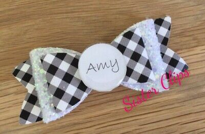 Personalised Back to school black gingham & white glitter Hair Bow Clip 4""