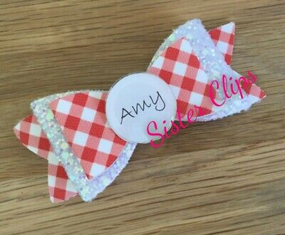Personalised Back to school red gingham & white glitter Hair Bow Clip 4""