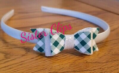 Back to School green gingham & white bow hair Alice band