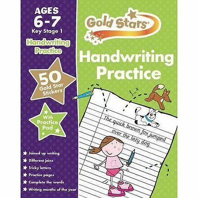 Handwriting Practice, Ages 6-7 KS1 Kids Book Gold Stars, With Practice Pad, New