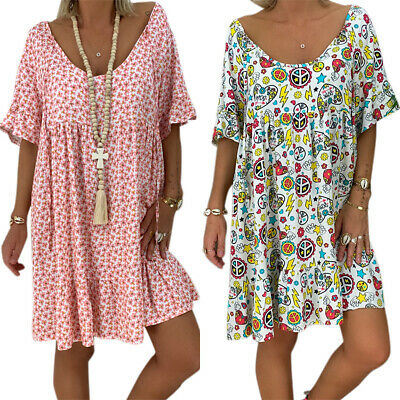 Plus Size Womens Floral Baggy Tunic Dress Summer Short Sleeve Loose Tops Kaftans