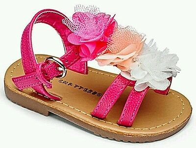 Girls Chatterbox Annmarie multi  pink flower sandals size 8