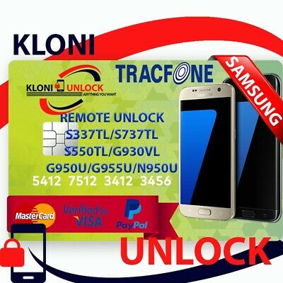 Samsung J3 J7 ON5 S7 S8 S8+ NOTE 8 TracFone Remote Unlock Service