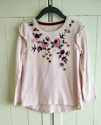 Girls Pink Embroidered Frill T-shirt Top Size 4-5 Years