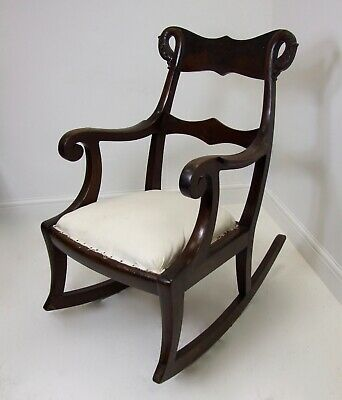 Superb Victorian Rocking Chair Mahogany Swan Heads Scrolled Arms Antique
