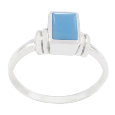 Chalcedony rings - 925 Silver Ring -Blue Ring - boy jewelry Gemstone  rings - US
