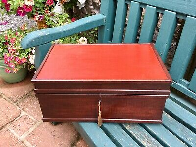 Antique Anglo Indian Writing Box/Chest Hardwood Working Lock &  Key Relined HUGE