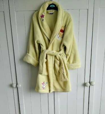 Girls Lemon Yellow Disney Winnie the Pooh Dressing Gown Robe Size 3-4 years