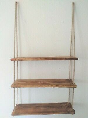 Rustic Wooden Hanging Rope Shelf Handmade Solid Aged Wood Floating Shelves