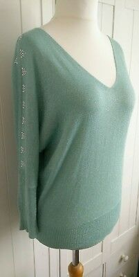 Next Green Sparkly Beaded Cold Shoulder Top Size 12