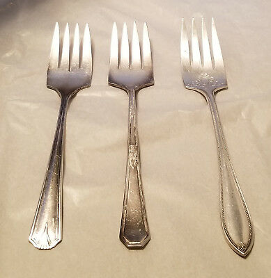 Lot of 3 Vintage Silverplate Serving Forks Viking, WM Rogers & Community Silver