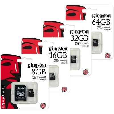 Kingston 8GB 16GB 32GB 64GB Micro SD SDHC+ adapter memoria class 10