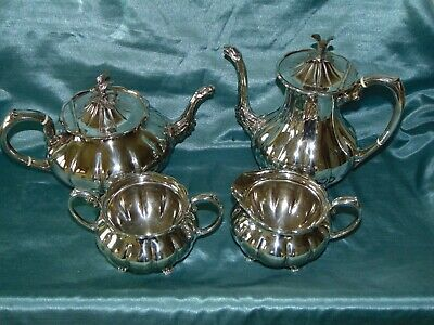Aesthetic Old Sheffield Plate Tea Set - Melon - Griffin - Eagle - Green Man