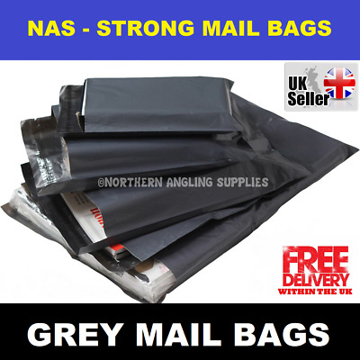 "10 BAGS - 17"" x 24"" STRONG POLY MAILING POSTAGE POSTAL QUALITY SELF SEAL GREY"