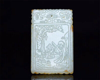 Chinese natural Hetian Nephrite jade Hand carved figure personage story pendant