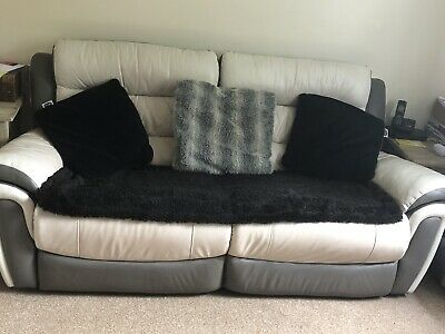 SCS 3 SEATER Leather Reclining Sofa With Matching Cuddle ...