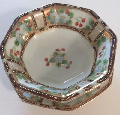 Antique Nippon Moriage Bowl With Saucer Hand Painted Floral With Gold