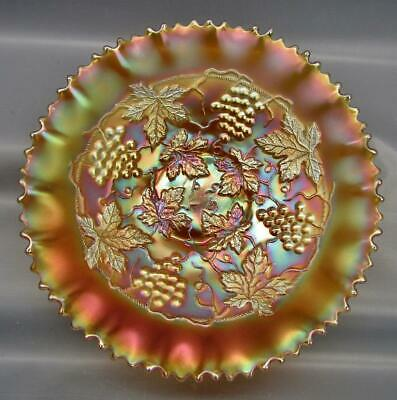Northwood GRAPE & CABLE VARIANT Marigold Carnival Glass Pie Crust Edge Bowl 6935