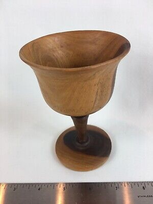 Vintage Two Toned Turned Wood Goblet Chalice Cup