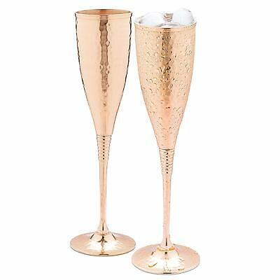 Copper Champagne Flutes Of 6.7 Oz Set Of 2 – Luxurious Hammered Copper