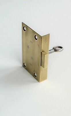 "Antique O & S L brass cut cabinet drawer or door lock with key 2 3/4"" x 1 3/4"""