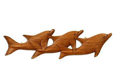 Wooden Hand Carved 3 Dolphins Wall Decor Plaque Hanging Art Wood Sculpture Gift