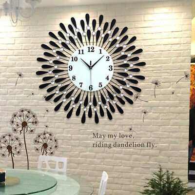 60Cm Extra Large Metal Diamond Wall Clock Big Giant Open Face Round Hangings Diy