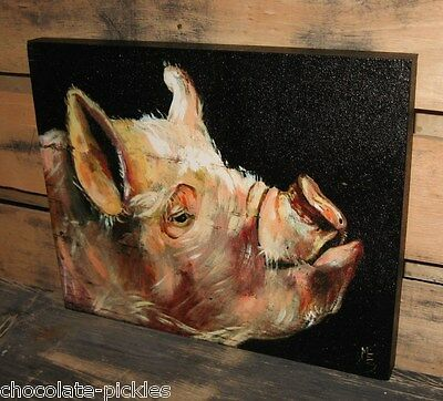 PIG Hog CANVAS Wall PICTURE*Farmhouse Primitive Home/French Country Decor*NEW!