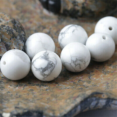 4-12mm Natural Round Howlite Loose Beads Diy Accessories Lots Shining Hole