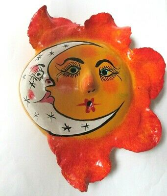 Mexican Hand Painted Sun Face Wind Blown Ceramic Pottery
