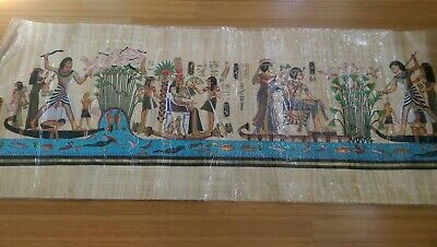 "Egyptian Long PAPYRUS Painting 25"" x 70"" King Tut FISHING TRIP"